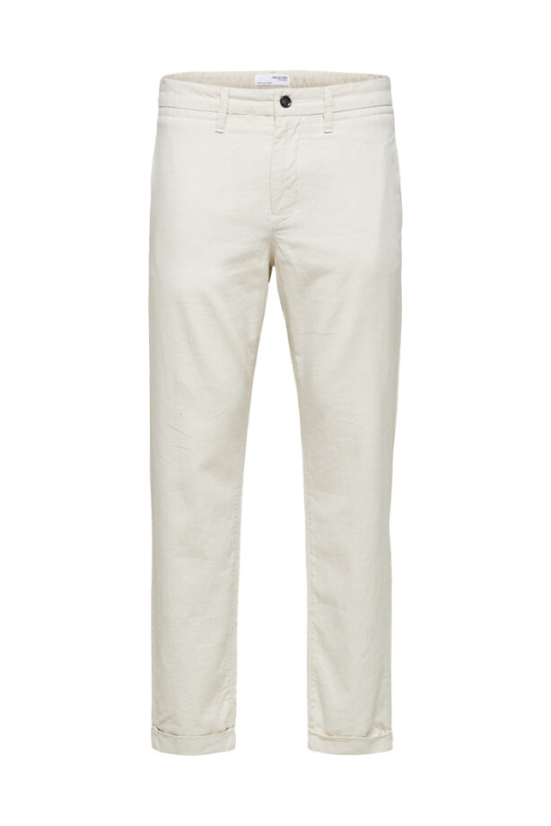 Selected Homme 16078025 Barry linen ankle pant - Bone white
